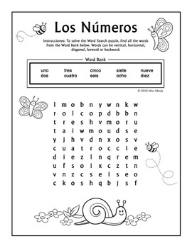 los numeros spanish numbers 1 10 word search puzzle worksheet by miss mindy. Black Bedroom Furniture Sets. Home Design Ideas