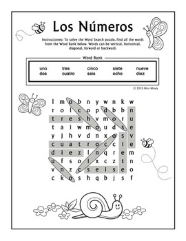 Los Numeros - Spanish Numbers 1-10 Word Search Puzzle Worksheet
