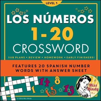 Los Numeros - Spanish Numbers 1-20 Crossword Puzzle Worksheet