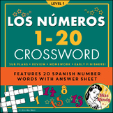 Los Numeros - Spanish Numbers 1-20 Crossword Puzzle Worksheet
