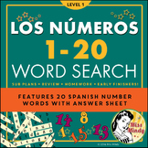 Los Numeros - Spanish Numbers 1-20 Word Search Puzzle Worksheet