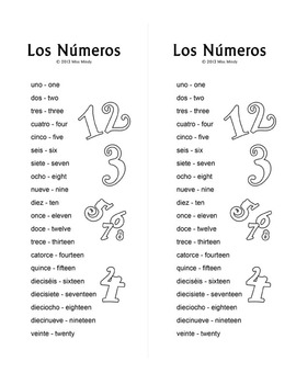 Los Numeros - Spanish Numbers 1-20 Word Search Puzzle Worksheet by ...