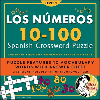 Los Numeros - Spanish Numbers 10-100 Crossword Puzzle Worksheet by ...