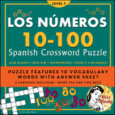 Los Numeros - Spanish Numbers 10-100 Crossword Puzzle Worksheet