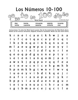 los numeros spanish numbers 10 100 word search puzzle worksheet by miss mindy. Black Bedroom Furniture Sets. Home Design Ideas