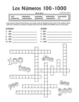 Los Numeros - Spanish Numbers 100-1000 Crossword Puzzle Worksheet