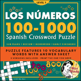 Los Numeros - Spanish Numbers 100-1000 Crossword Puzzle Worksheet