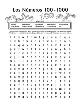 los numeros spanish numbers 100 1000 word search puzzle worksheet. Black Bedroom Furniture Sets. Home Design Ideas