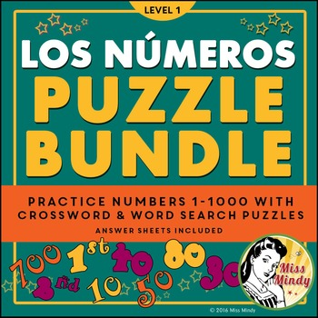 Los Numeros Spanish Numbers PUZZLE BUNDLE (1-1000) Crossword & Word Search