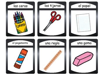 Los Objetos de la Clase- Classroom Objects Vocabulary in Spanish Card Games