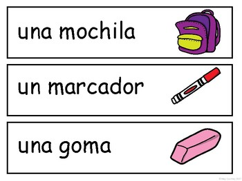 Los Objetos de la Clase Word Wall - Classroom Objects Vocabulary in Spanish