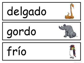 Los Opuestos-Opposites Vocabulary Word Wall in Spanish