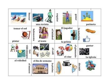 Los Pasatiempos y Deportes- Vocabulary Puzzle (Pastimes an
