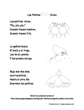 Los Pollitos Dicen Words and Puppets