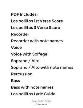 Los Pollitos for Recorder, Voice & Mallet. Hispanic Heritage Music.