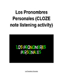 Los Pronombres Personales Rap (CLOZE notes listening activity)