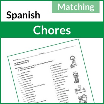 Los Quehaceres (Spanish Chores): Matching Activity and Image ID