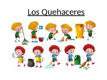 Los Quehaceres (Spanish chores) para una fiesta