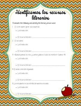 Los Recursos Literarios - Spanish Identifying Literary Devices