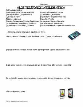 Los Telefonos Inteligentes / Smart Phones Article and Activity in Spanish