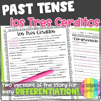 Preterite vs Imperfect Story Worksheet (Los Tres Cerditos/Three Little Pigs)