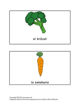 Los Vegetales-Vegetables in Spanish Vocabulary Masters & Flashcards