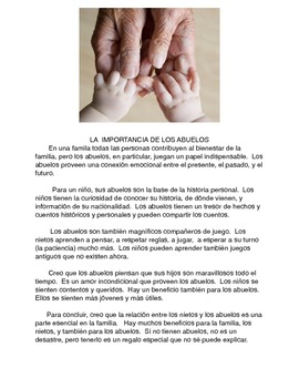 Los abuelos essay for grade 8 with tiered questions