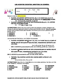 Los Acentos In Spanish Worksheets & Teaching Resources | TpT