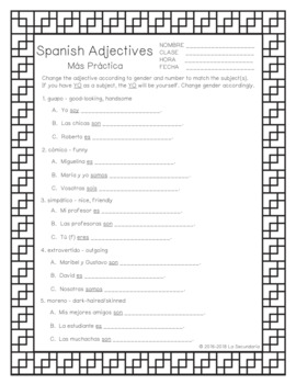 Spanish Adjectives Packet