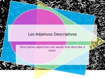 Los adjetivos descriptivos - Descriptive adjectives powerpoint
