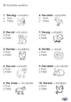 Los animales TEST 2nd grade