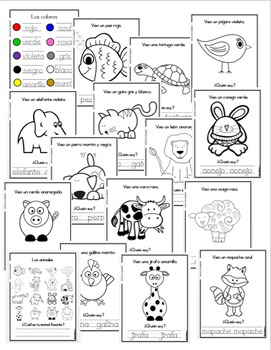 Los animales | animals coloring book in spanish