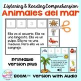 Los animales del mar marinos Reading Comprehension Print & Boom Cards | Spanish