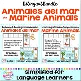 Los animales del mar Reading Comprehension Print & Boom Cards | Bilingual