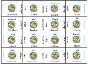 Los animales vocabulary review game