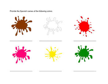 Los colores - Elementary/Middle Level Color Worksheet - Spanish