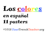 Los colores : PACK of 11 beautiful 3D posters Spanish colors