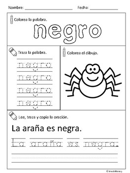 Los colores (Spanish colors activity)