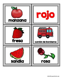 Los colores picture sort (clasificacion de fotos colors in Spanish)