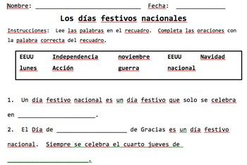 Los días festivos nacionales