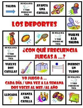 Los deportes - Jugar + Frecuencia - Board Game + Free Make-Your-Own (Blank) Vers