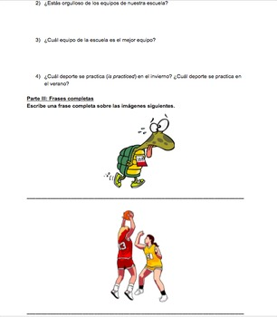 Los deportes (vocabulario y preguntas)-Sports vocabulary and questions - Spanish