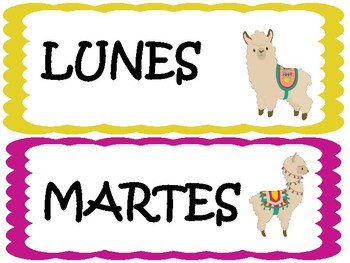 Llama classroom  decor  spanish days of the week
