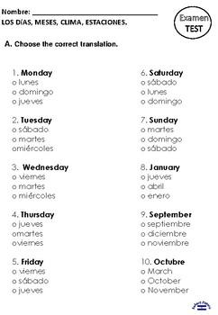 Los dias y meses TEST 3rd grade
