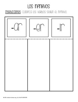 Los infinitivos Foldable (Infinitives) {FREEBIE}