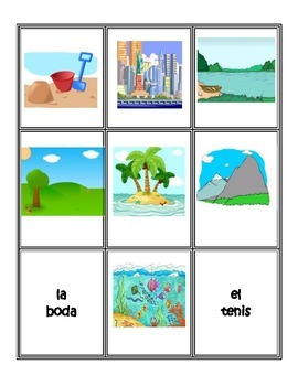 Spanish Games: Places/Los lugares Concentration