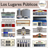 Los lugares públicos - Community Buildings in Spanish - Clip Art