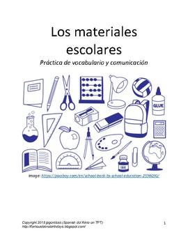Los materiales escolares/School Supplies in Spanish Practice