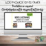 Los modos en el aula; classroom modes in Spanish; class expectations en español