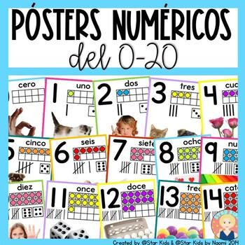 Los números - Posters numéricos en español del 0 al 20